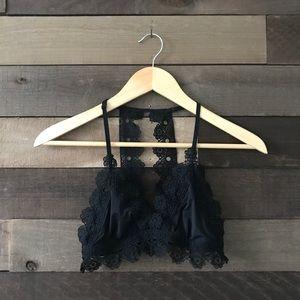 Aerie Black Dainty Racerback Floral Lace Bralette